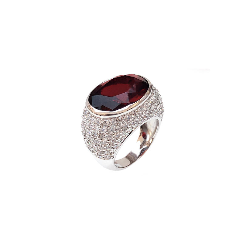 Professional Wholesale 925 Sterling Silver Ring with Rhodium Plated Ruby CZ 12341