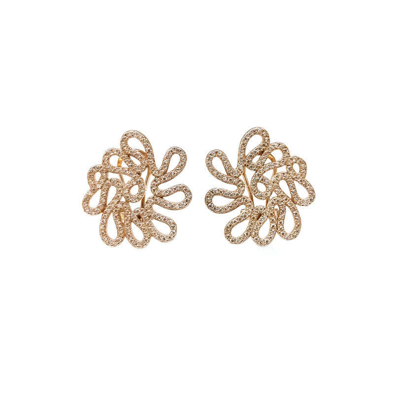 Special Irregular 925 Sterling Silver Women's Earrings with Rose Gold Plated 31737