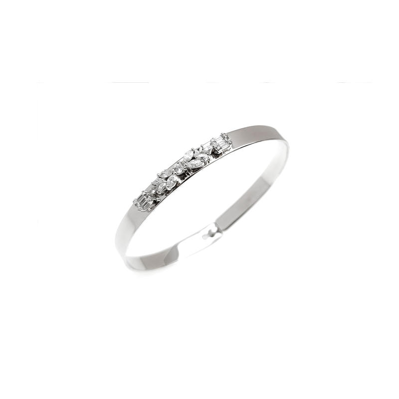 Classic 925 Sterling Silver Cubic Zirconia Bangle with Rhodium Plated for Woman 51156