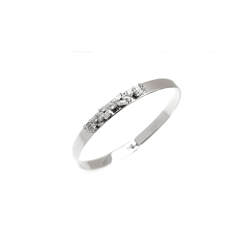 product-Kirin -Classic 925 Sterling Silver Cubic Zirconia Bangle with Rhodium Plated for Woman 51156