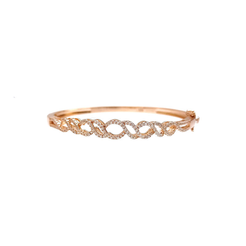 OEM Charm 925 Sterling Silver CZ Bangle with Rose Gold Plated for Woman 51165