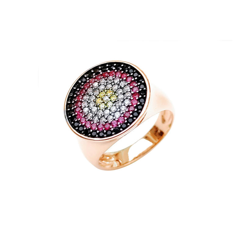 Professional OEM Multi Color 925 Sterling Silver CZ Women's Ring with Gold Plated 85203
