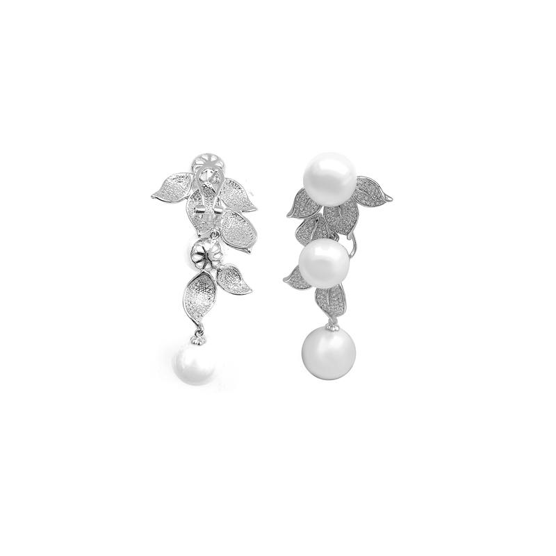 Drop 925 Sterling Silver CZ Earrings with Mother of Pearl Rhodium Plated 80112