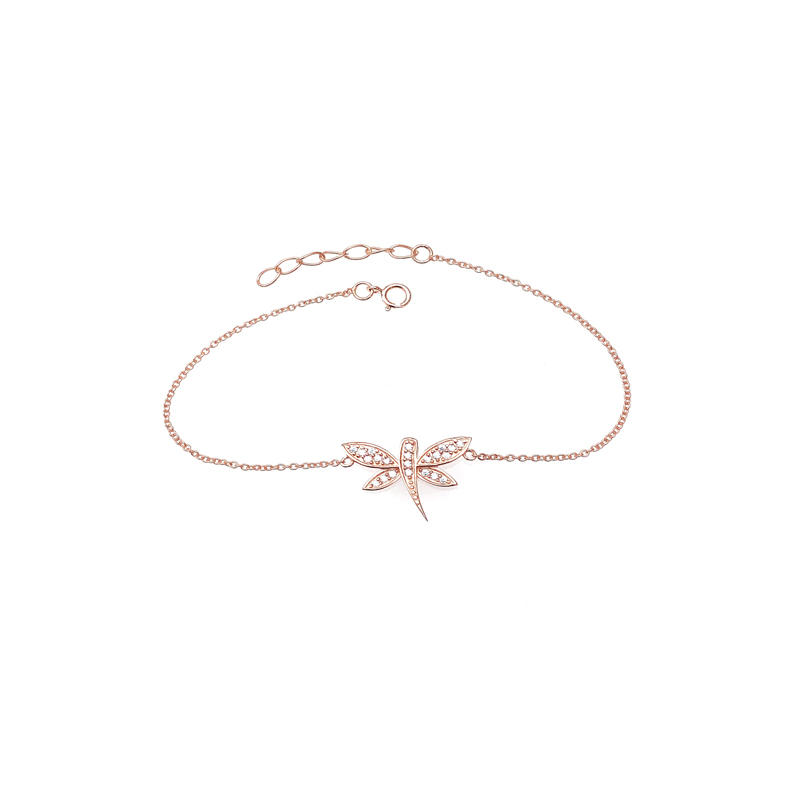Cute Dragonfly 925 Sterling Silver Bracelet with Rose Gold Plated for Woman 61350