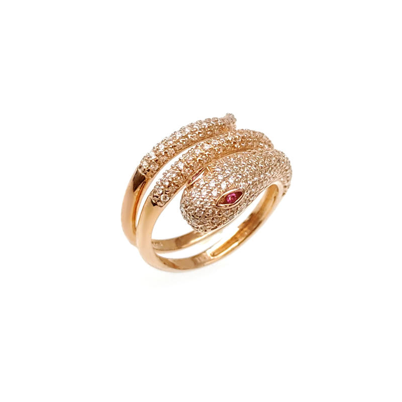China Snake 925 Sterling Silver CZ Ring with Rose Gold Plated for Woman 17930 Customized-Kirin