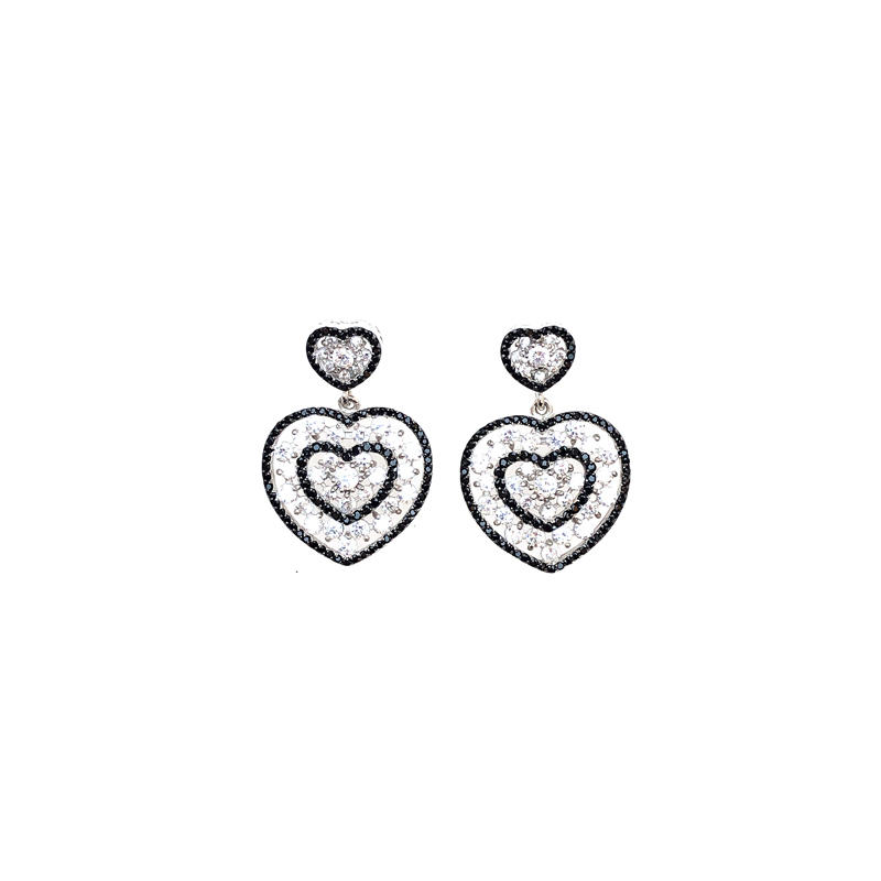 Love Heart 925 Sterling Silver Women's CZ Earrings with Gold Plated 80282E