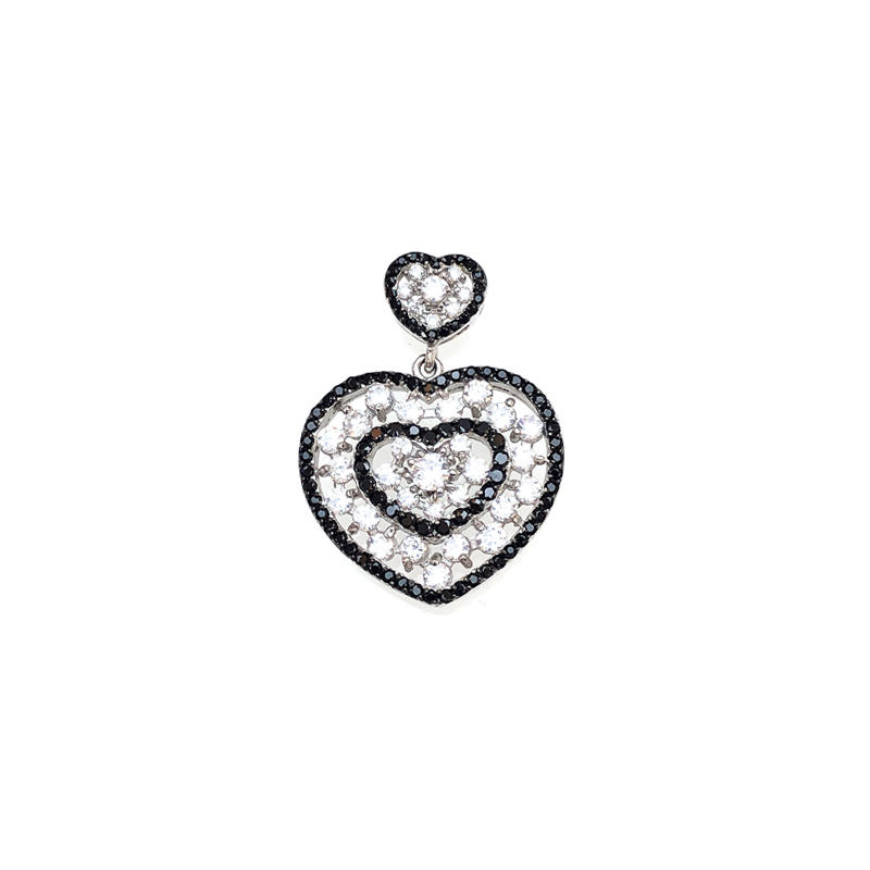 Customized 925 Sterling Silver Love Heart Women's Pendant with Gold Plated 80282P