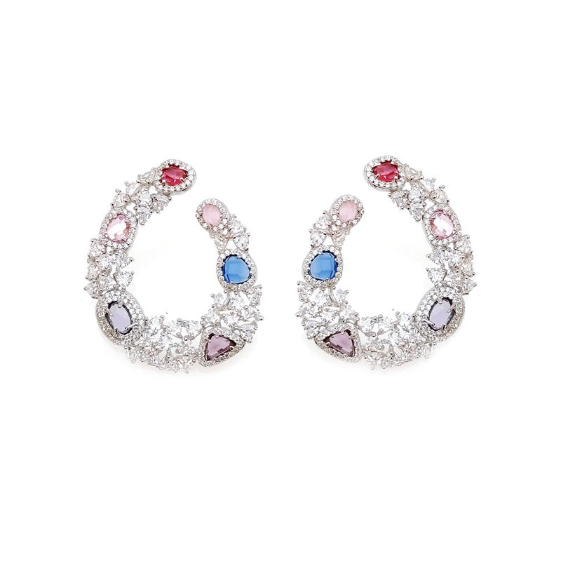 Custom Multi Color 925 Sterling Silver Round CZ Earring for Woman 31424 Factory From China