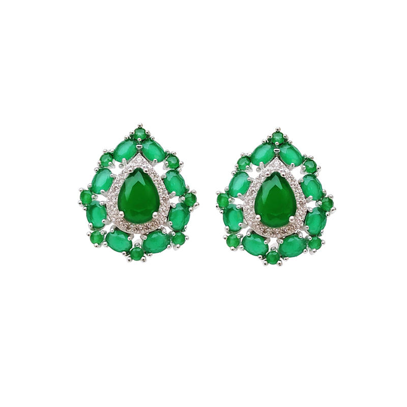 Professional Manufaturer Elegant 925 Sterling Silver Earrings Emerald with Rhodium Plated for Woman 36182