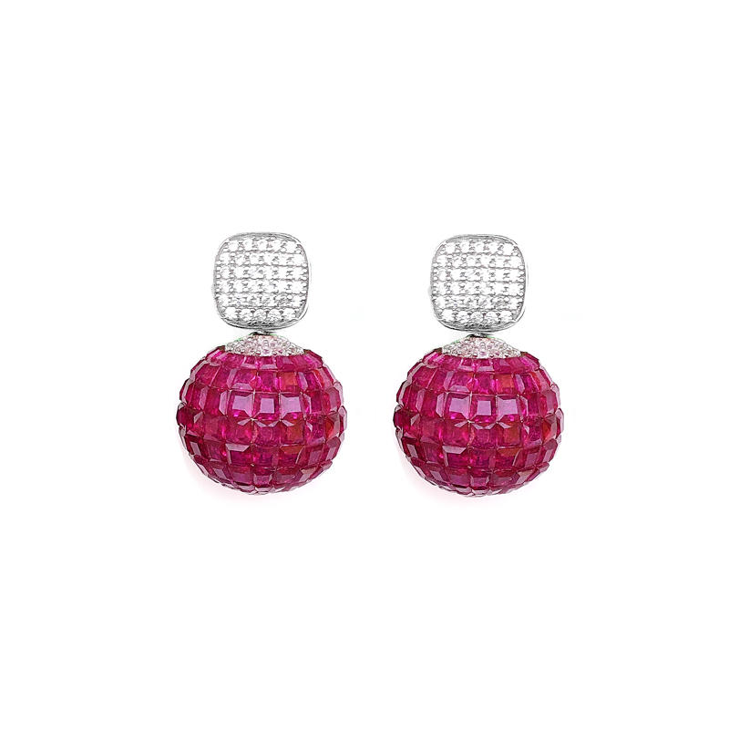 Special Invisible Setting Item 925 Sterling Silver Women's Earrings Ruby CZ with Rhodium Plated 38670
