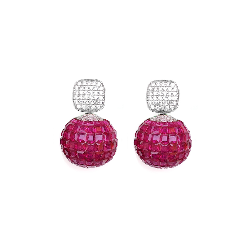 product-Kirin -Special Invisible Setting Item 925 Sterling Silver Womens Earrings Ruby CZ with Rhodi