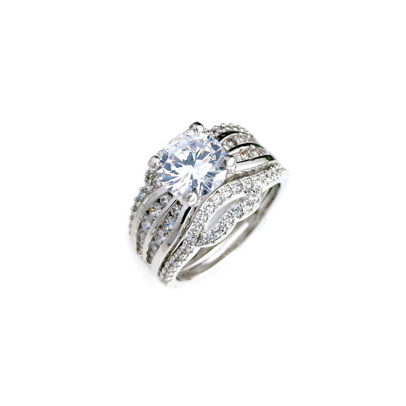 product-Best Quality Sparkle Engagement 925 Sterling Silver Cubic Zirconia Rings for Woman 107278 Oe