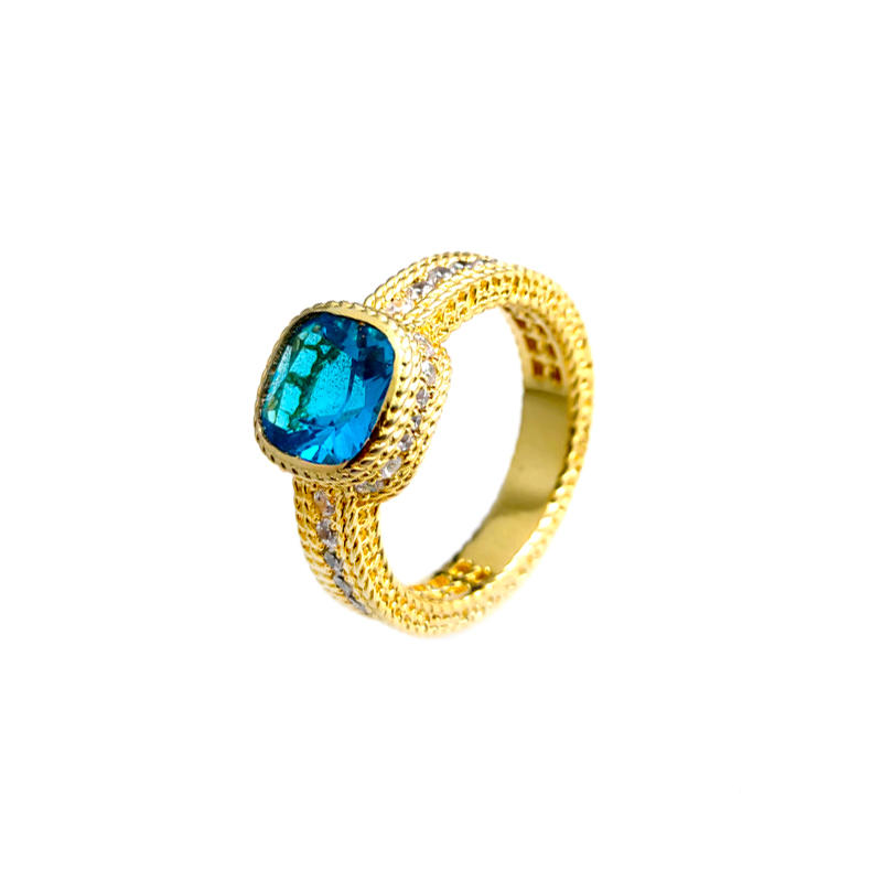 New Trendy Engagement 925 Sterling Silver Ring with Gold Plated for Woman 106891