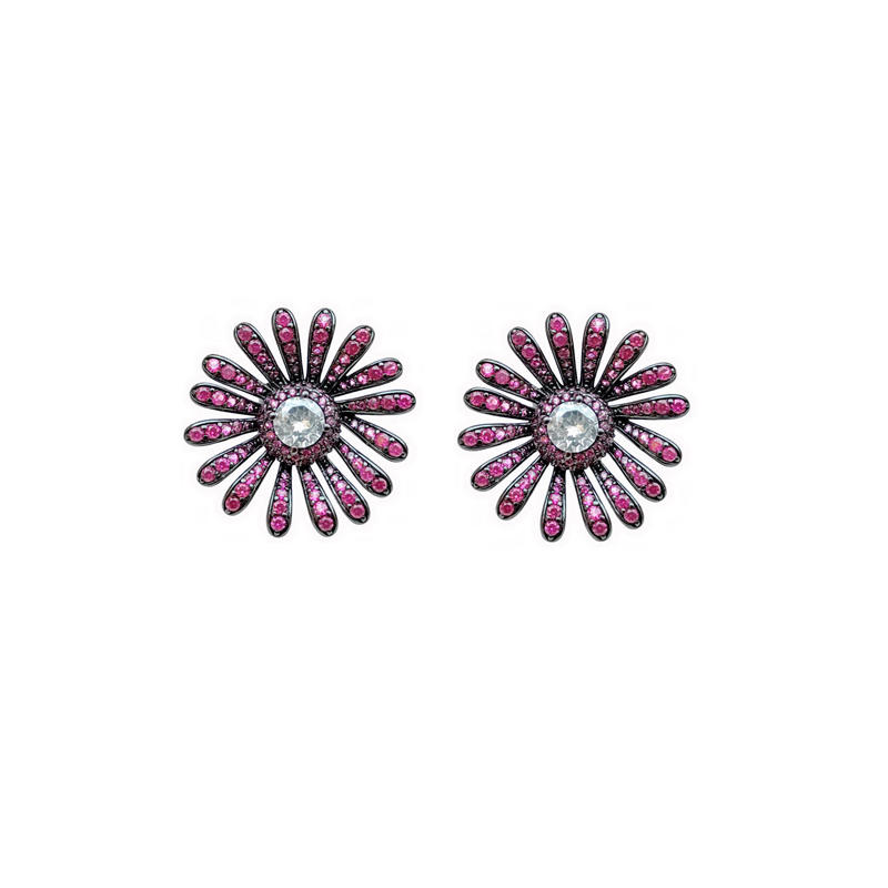 Charm 925 Sterling Silver Flower CZ Ruby Women's Earrings with Black Gold Plating 300040