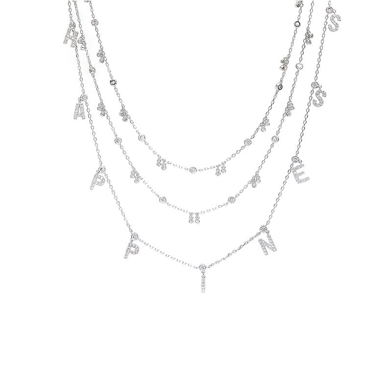 OEM Chains Letter 925 Sterling Silver Necklace with Rhodium Plating for Woman 71612