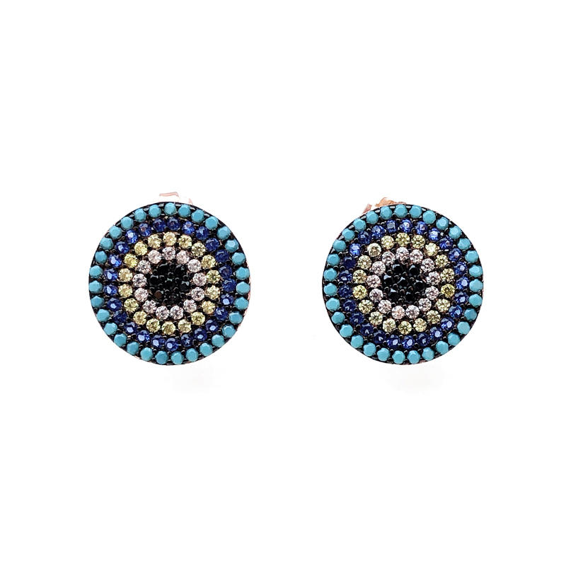 Special 925 Sterling Silver Round Women's Earrings with Gold Plated 35802