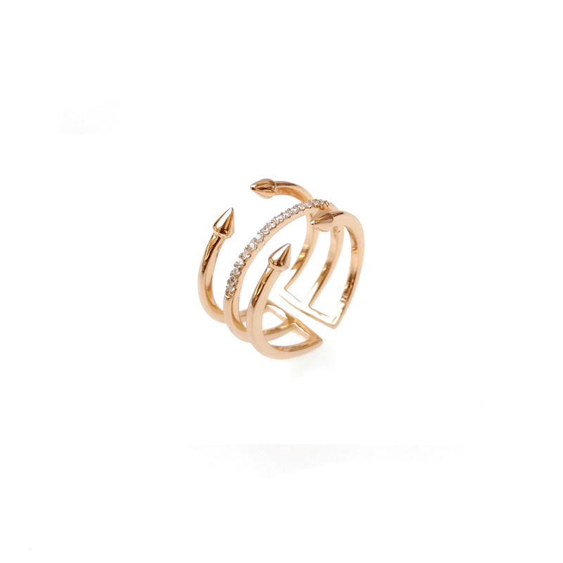 Factory Price Custom 925 Sterling Silver CZ Rings with Rose Gold Plated for Woman 102232 Supplier-Kirin