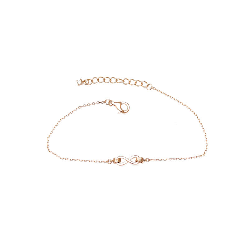 Minimalist Infinite 925 Sterling Silver Bracelet with Rose Gold Plated for Woman 61901