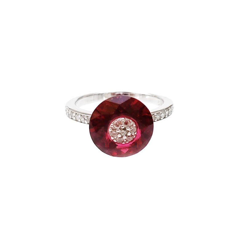 Elegant OEM 925 Sterling Silver CZ Ruby Women's Ring with Rhodium Plated 85051RW