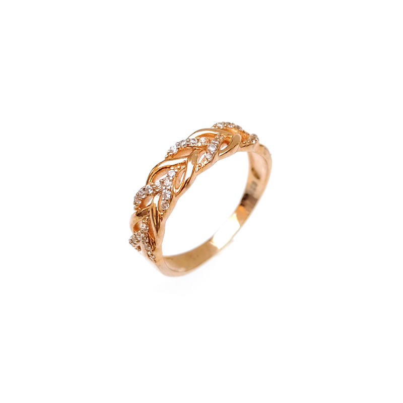 Stylish Customized 925 Sterling Silver CZ Ring with Rose Gold Plated for Woman 104087