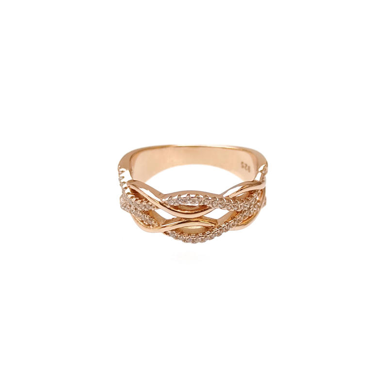 Professional Custom 925 Sterling Silver CZ Ring with Rose Gold Plated for Woman 104098