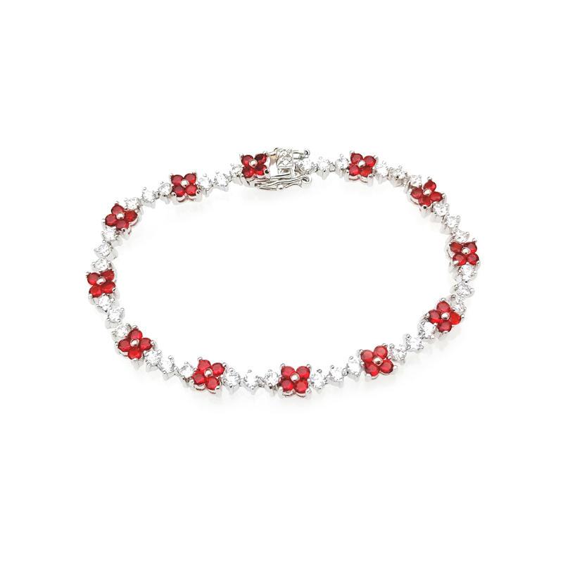 Pretty Custom 925 Sterling Silver Women's CZ Ruby Flower Bracelet with Rhodium Plated 60155