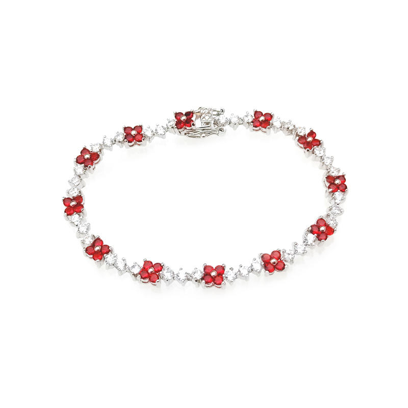 Pretty Custom 925 Sterling Silver Women's CZ Ruby Flower Bracelet with Rhodium Plated 60155