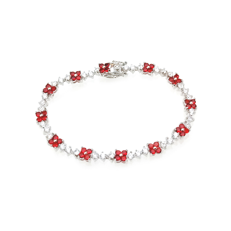product-Kirin -Pretty Custom 925 Sterling Silver Womens CZ Ruby Flower Bracelet with Rhodium Plated
