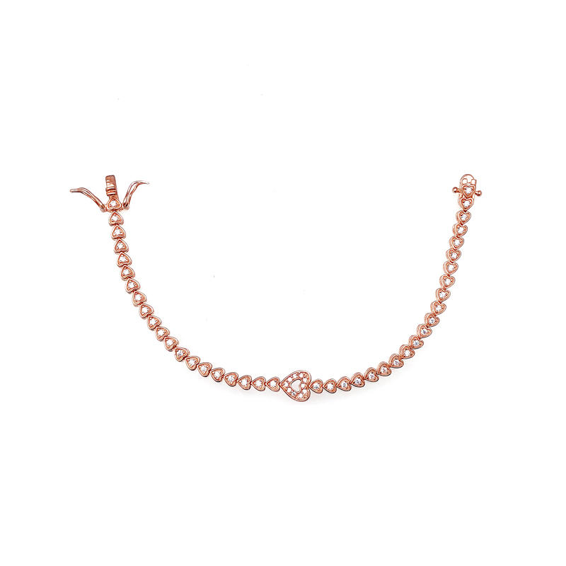 Love Heart 925 Sterling Silver Women's CZ Bracelet with Rose Gold Plated 60091