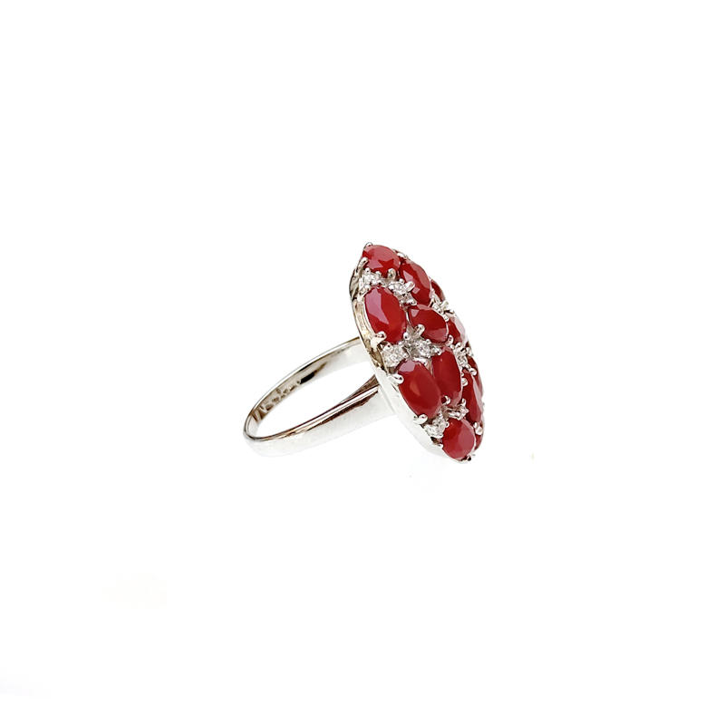 Charm Custom 925 Sterling Silver CZ Ruby Rings with Rhodium Plated for Woman 83629RW
