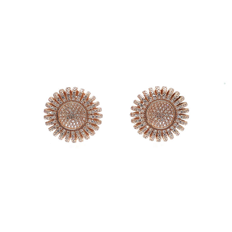 Charming Bling 925 Sterling Silver CZ Round Earrings with Rose Gold Plated for Woman 34689