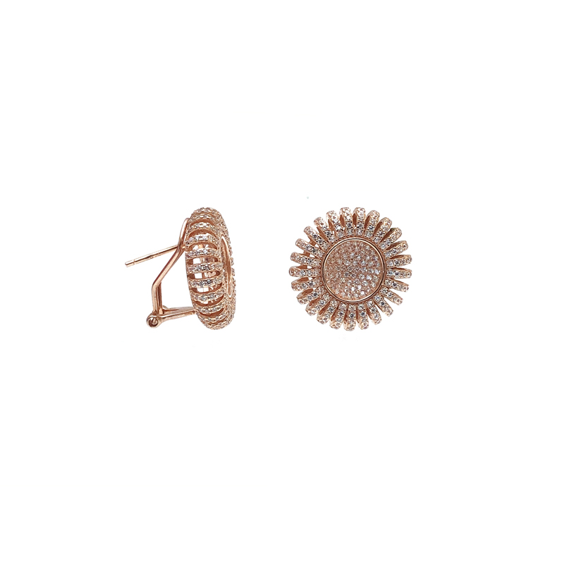 product-Charming Bling 925 Sterling Silver CZ Round Earrings with Rose Gold Plated for Woman 34689-K