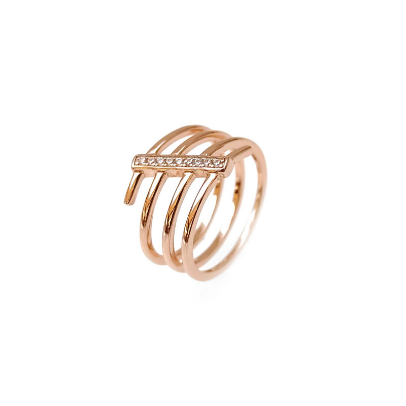 Stylish Custom 925 Sterling Silver CZ Rngs with Rose Gold Plated for Woman 103984
