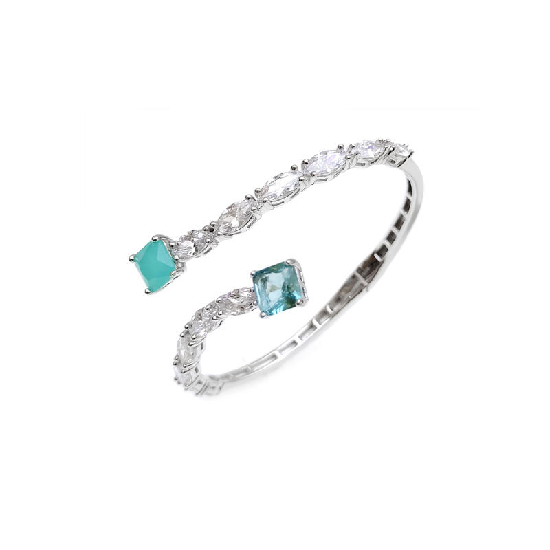 Professional OEM 925 Sterling Silver Gemstone CZ Bangle with Rhodium Plated for Woman 51000