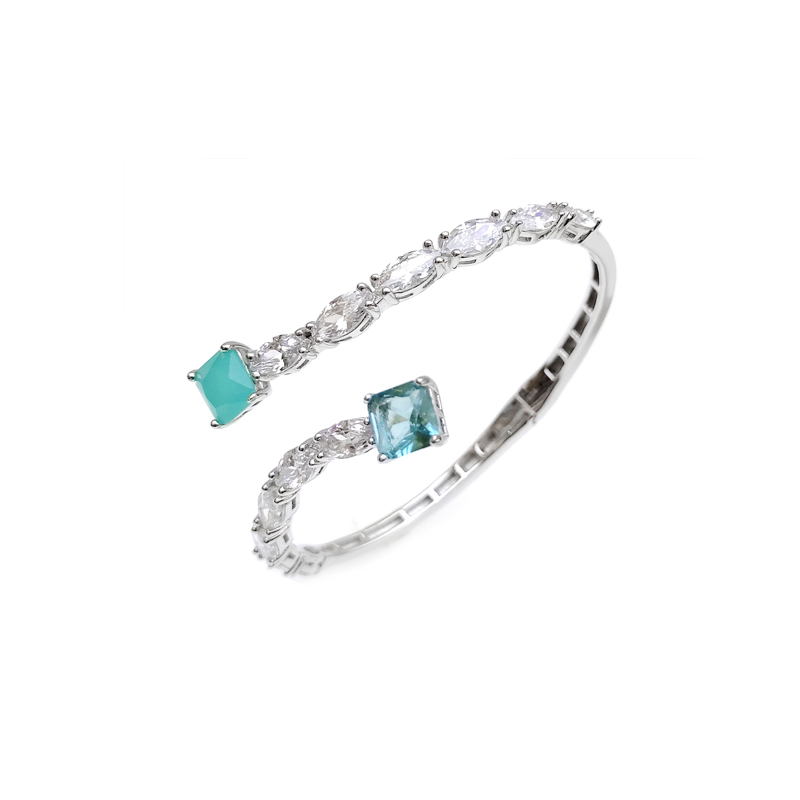 product-Kirin -Professional OEM 925 Sterling Silver Gemstone CZ Bangle with Rhodium Plated for Woman