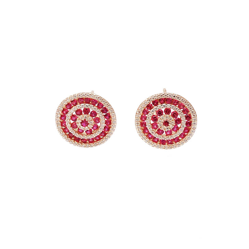 Charming Pretty 925 Sterling Silver Ruby CZ Earrings with Rose Gold Plated for Woman 33598