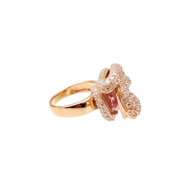 Special Snake OEM 925 Sterling Silver CZ Ring with Rose Gold Plated for Woman 18067