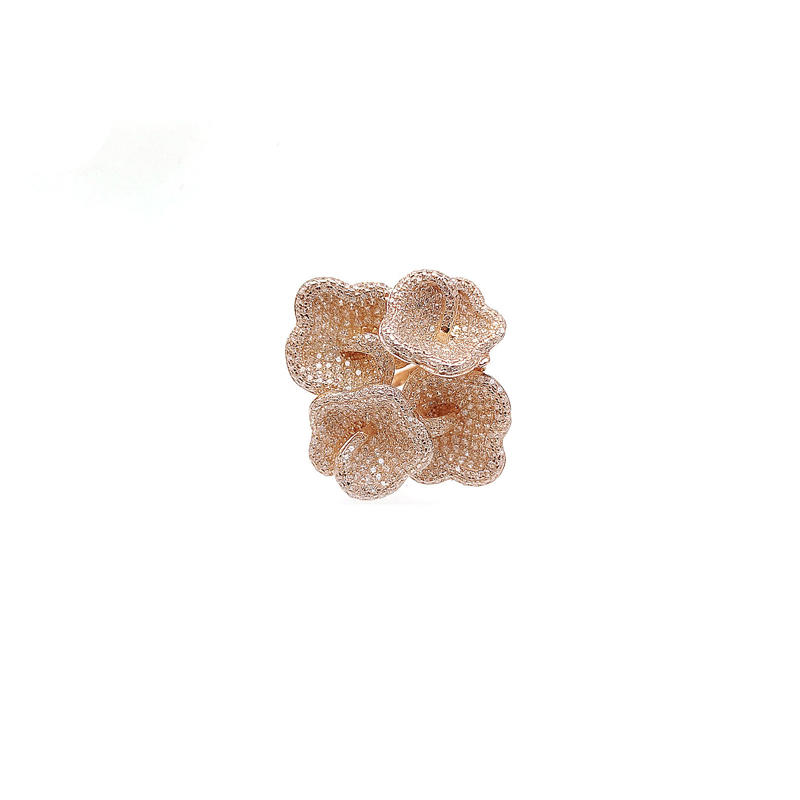Wholesale 925 Sterling Silver Flower CZ Ring with Rose Gold Plated for Woman 80950R