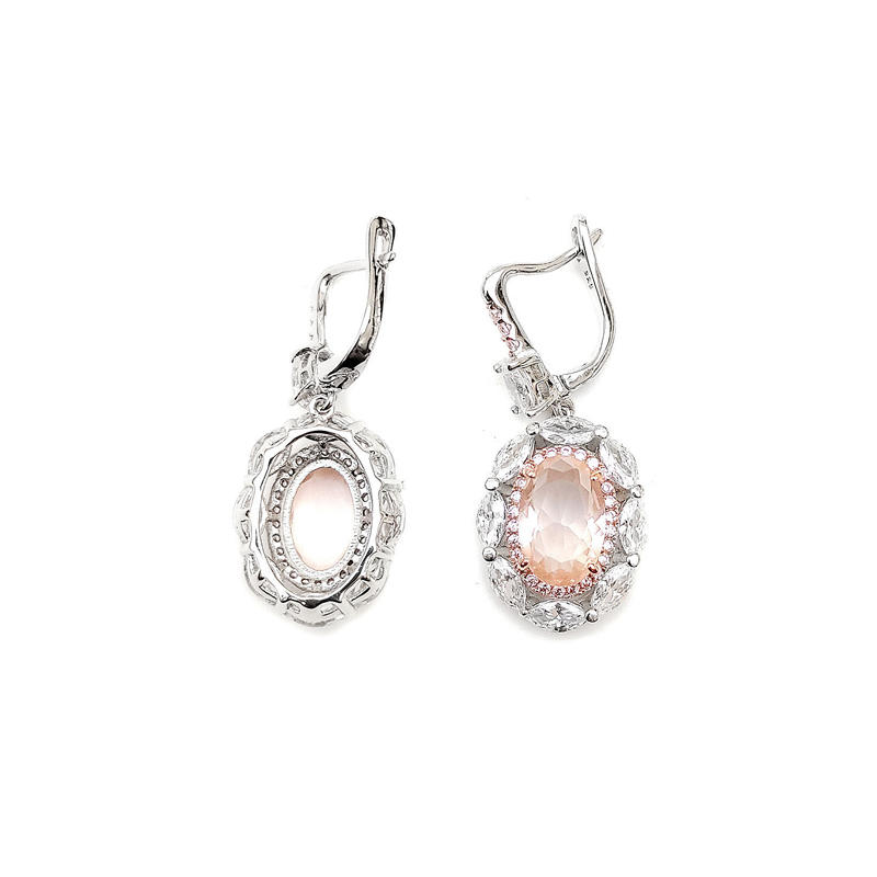 Bling Custom 925 Sterling Silver CZ Earrings with Rhodium Plated for Woman Factory Price 84330EW