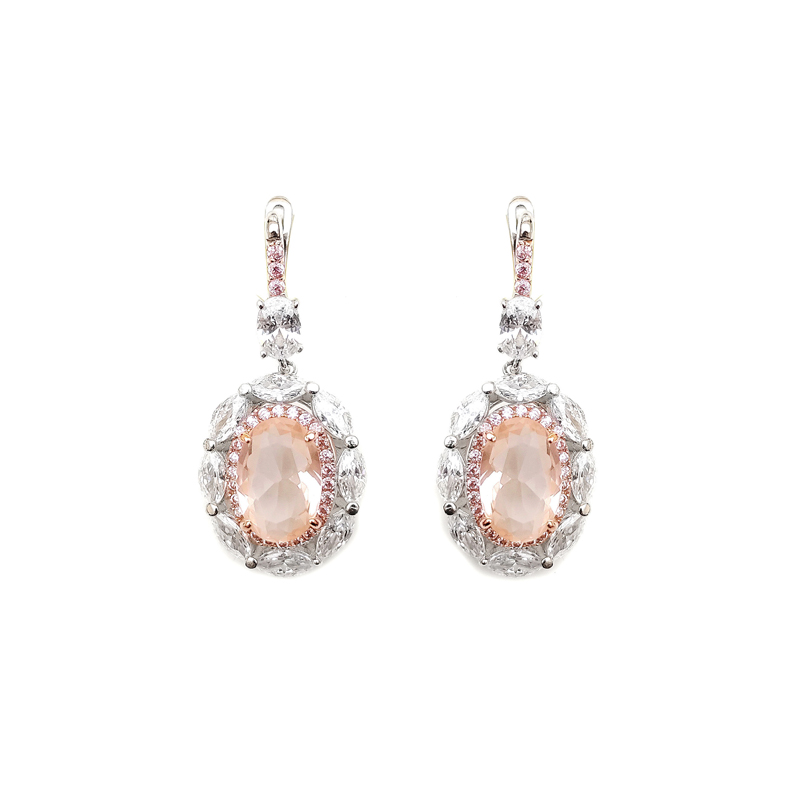 product-Bling Custom 925 Sterling Silver CZ Earrings with Rhodium Plated for Woman Factory Price 843