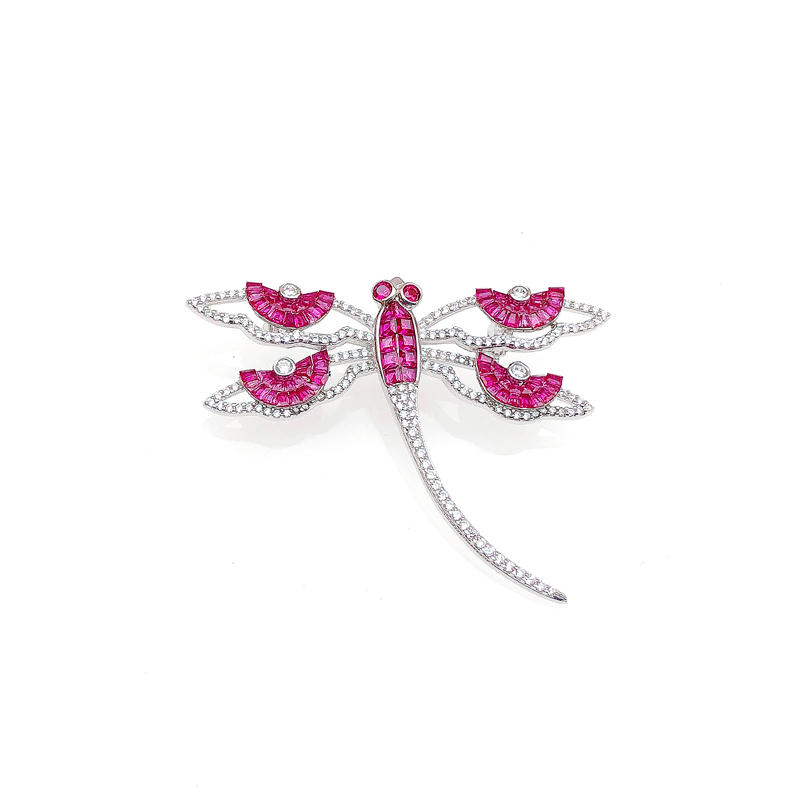 Special Invisible Setting Item 925 Sterling Silver Dragonfly Brooch with Rhodium Plating 40345