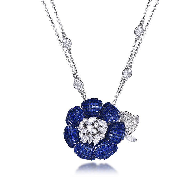 Elegant Custom 925 Sterling Silver Invisible Setting Item CZ Flower Necklace for Woman 71475
