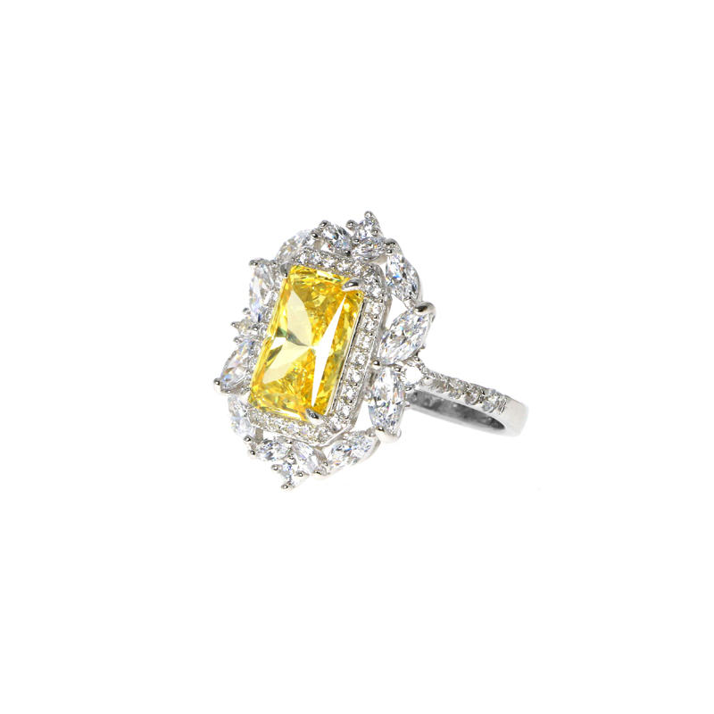 Pretty Custom 925 Sterling Silver Cubic Zircon Ring with Rhodium Plated for Woman 103108