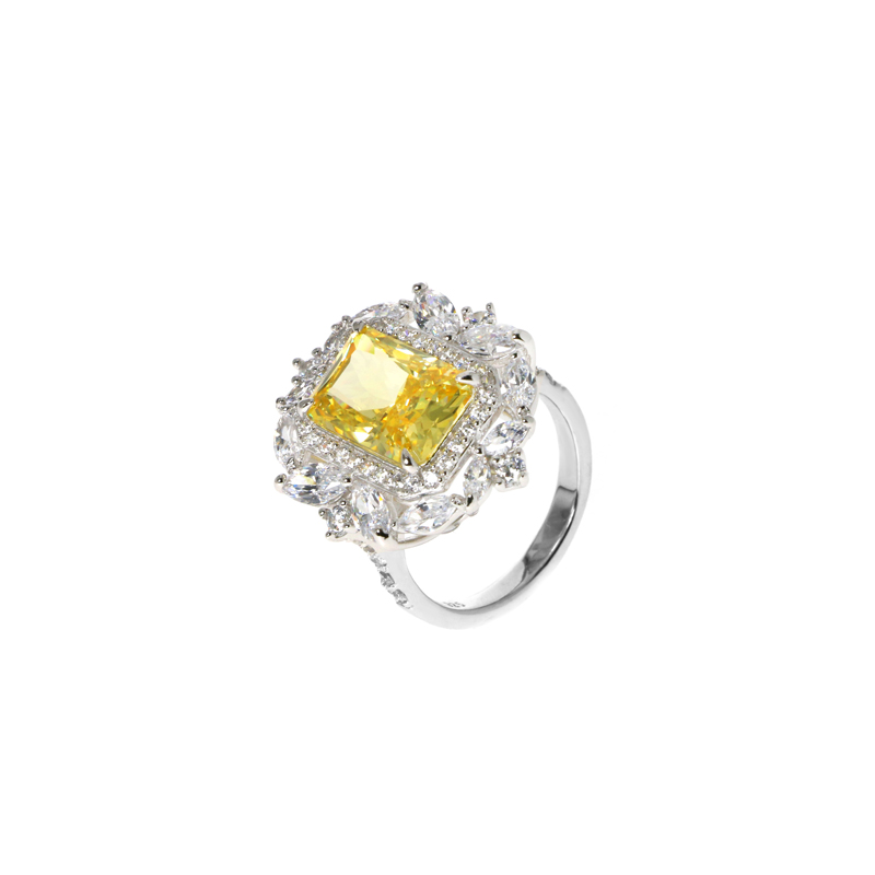 product-Pretty Custom 925 Sterling Silver Cubic Zircon Ring with Rhodium Plated for Woman 103108-Kir