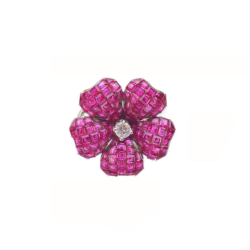 Charming Custom 925 Sterling Silver Flower Invisible Setting Item CZ Ruby Ring for Woman 105431