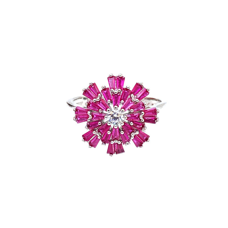 Minimalist Wholesale 925 Sterling Silver CZ Ruby Ring with Rhodium Plated for Woman 82833RW