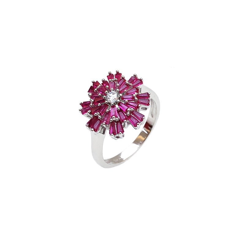 product-Minimalist Wholesale 925 Sterling Silver CZ Ruby Ring with Rhodium Plated for Woman 82833RW-