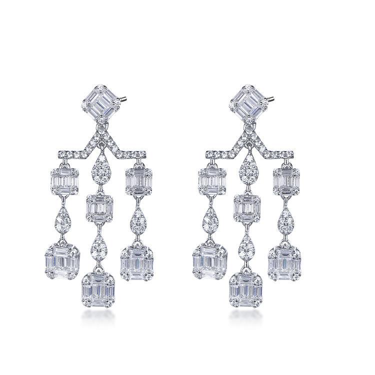 Dignity tassels shape zircon hang drop women 925 sterling silver earring for party