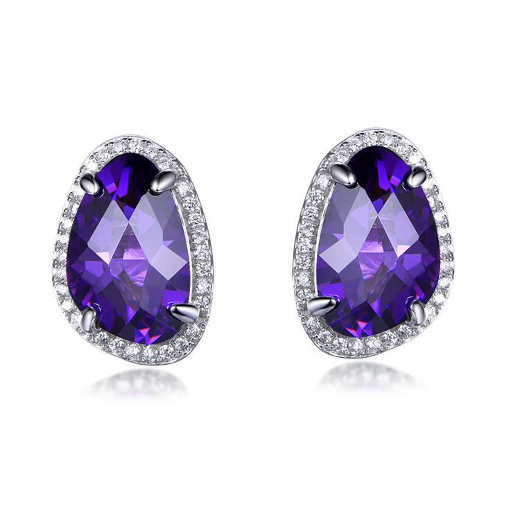 Factory wholesale luxury trend deep purple bright earrings price concessions