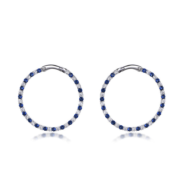 Factory Wholesale Small Blue And White Earrings Zircon Big Hoops Zircon Ring Earrings